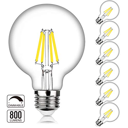 G25 LED Bulb Globe Dimmable Edison Light Bulbs 60W-75W Equivalent, 800Lm Super Bright, 4000K Daylight White, E26 Medium Screw Base, 7Watt Omnidirectional Bathroom Vanity Mirror Light, 6-Pack