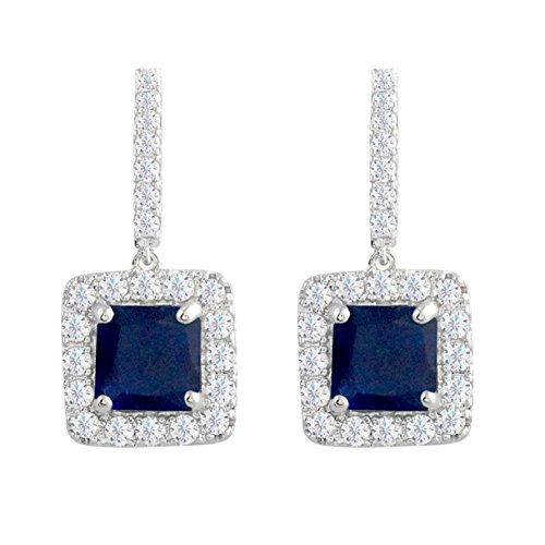 Art Stone Holiday Costumes (SELOVO Classic Art Deco Royal Blue Drop Earrings Sapphire Color Square Cubic Zirconia)