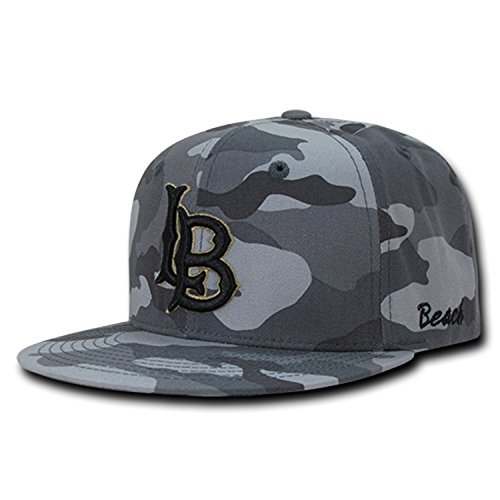 University of Cal State Long Beach CSULB The Beach NCAA Flat Bill Gray Camo Camouflage Cotton Snapback Baseball Cap - Ncaa Long Hat