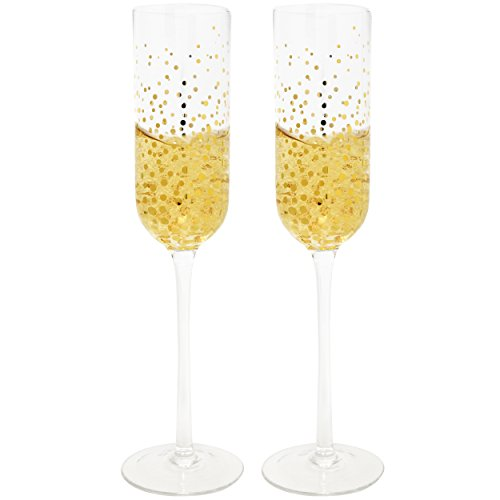 - Set of 2 Fizz Gold Dot Champagne Flutes Toast Drinking Wine Glasses Party Supplies Accessories Décor for Holiday Bridal Baby Shower Wedding Anniversary Bachelorette Engagement Birthday Graduation