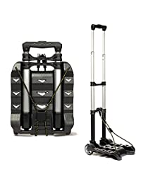 RMS Royal Medical Solutions, Inc. Folding Luggage Cart - Lightweight Aluminum Hand Truck with Wheels - Collapsible