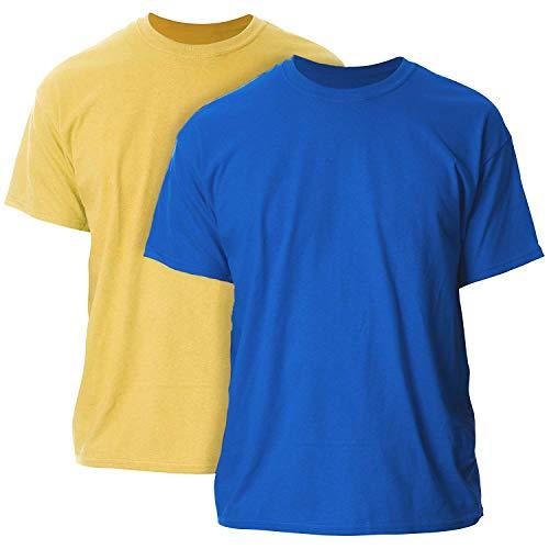 Gildan Men's Ultra Cotton Adult T-Shirt, 2-Pack Gold/Royal