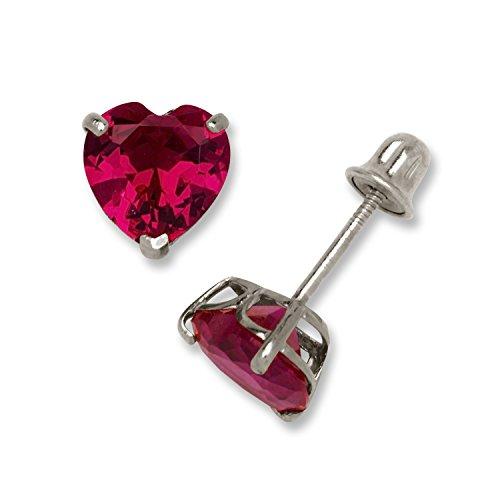 14K White Gold 6mm Heart-shaped Cubic Zircornia Birthstone Basket-Set Solitaire Screw-back Stud Earrings (12 colors) (10k Gold Screw)