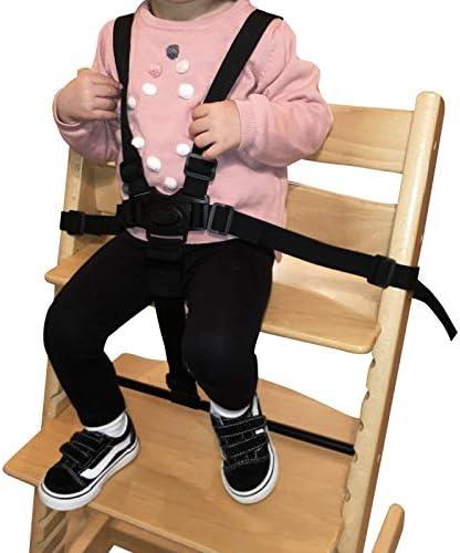 Monsieur B/éb/é /® Harnais de s/écurit/é universel 5 points pour chaise haute b/éb/é Norme CE Noir