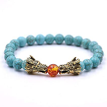 7a888b23e9bc Amazon.com  Florance jones 8mm Dragon Head Lava Howlite Chakra Stone Bead  Prayer Mala Diffuser Bracelets