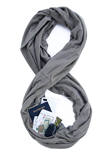 TRAVEL SCARF by WAYPOINT GOODS // Infinity Scarf with Hidden Pocket (Pewter)