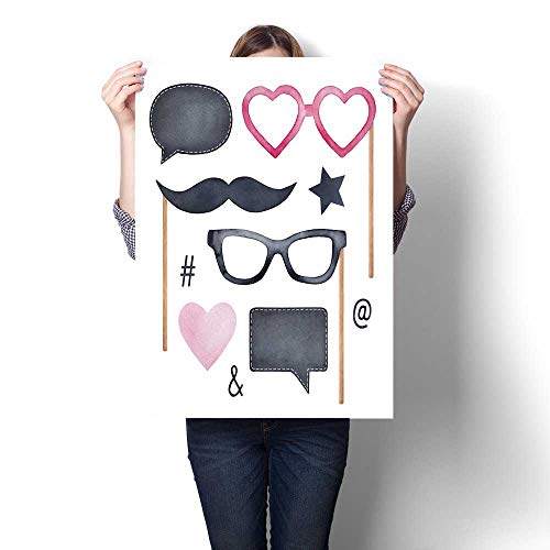 Anshesix Hanging Painting Photo Booth Holiday Collection with Fun Glasses Mustache Blank Chalk Boards and Various Party Symbols Ready to Hang for Home Decorations Wall Decor -