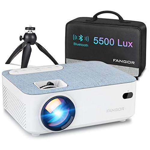 chollos oferta descuentos barato Proyector Mini Proyector Portátil FANGOR Video proyector Cine en casa 5500 lúmene Soporte 1080P Bluetooth proyector Compatible con TV Stick PS4 HDMI Actualización 2020