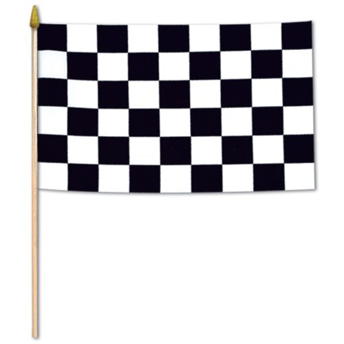 Beistle 50992 12-Pack Checkered Rayon Flags, 11 by ()