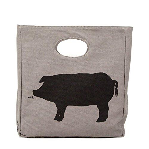 Fluf Big Lunch, Organic Cotton Lunch Bag, Oink