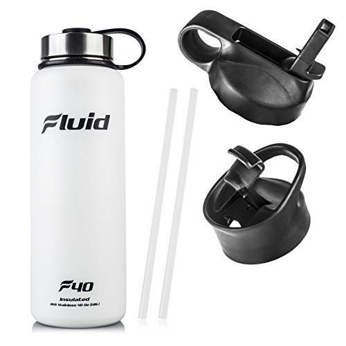 (Insulated Stainless Steel Water Bottle By Fluid Sports (White Out) - 40 Oz, Wide Mouth, BPA Free, Bonus Flip-top Lid Included)