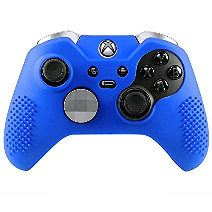 Blue Antil-Slip Silicone Controller Cover Protective Case for Xbox One Elite Controller Soft Cover Skin with 2 Thumb Grips
