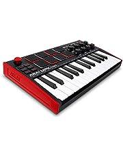 AKAI Professional MPK Mini MK3 - Teclado controlador MIDI USB de 25 teclas con 8 drum pads, 8 perillas y software de producción musical
