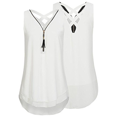 Femme Chemise - Gouache Tunic Chiffon Blouse Shirt Women Summer 2018 Zipper V Neck Chemise Femme Backless Female Tops White L