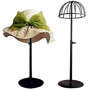 Lovely Queens Adjustable Height Hat Stand Metal Dome Shape Design Tabletop Wig  Display Rack (Black)