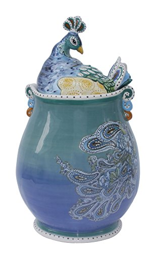 Blue Sky Ceramic Peacock Cookie Jar<br>7.5 x 7 x 11.75 inches