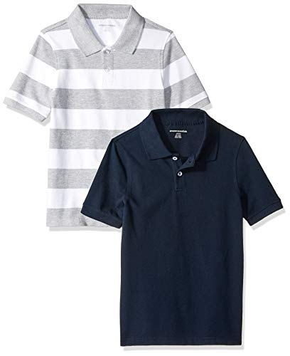 Amazon Essentials Little Boys' 2-Pack Uniform Pique Polo, 2-Pack Grey and White/Navy Rugby, XS (4-5)