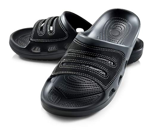 Roxoni Slide Sandals for Men | Open Toe Slip-On | Waterproof Rubber for Beach, Pool, Gym, Travel Wear Black from Roxoni