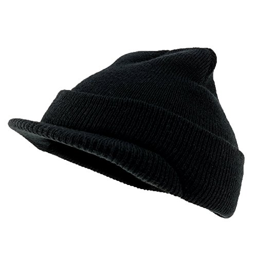 Acrylic Jeep Hat (Made in USA, Childrens Youth Size Acrylic Jeep Beanie Cap with Visor - BLACK)
