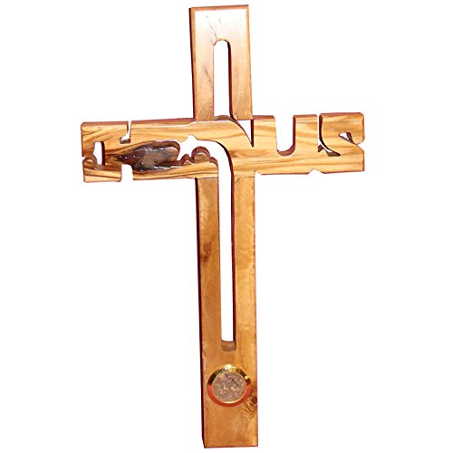 (Zuluf Christian Handmade Jesus Olive Wood Wall Cross With Soil Bethlehem - 20cm)