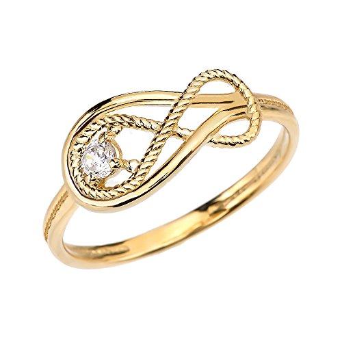Diamond Rope Infinity 10k Yellow Gold Ring(Size 4) ()