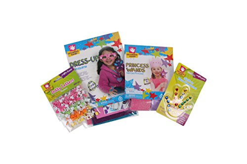 Creative Hands Princess Bundle - Arts And Crafts For Kids - 4 Items, Including 8 Princess Wands, 10-in-1 Fantasy Craft, 1 Pack Foam Self Sticking Gemstones and 1 Pack Dotty Letter Stickers.