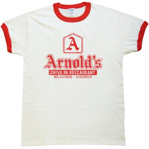 Mens T Shirt - Arnolds Drive In - White & Red Ringer - XL