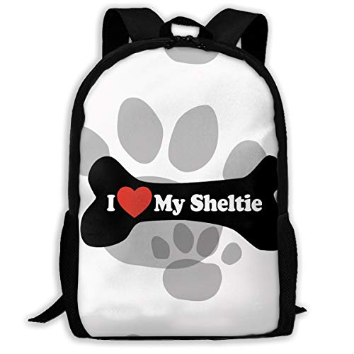 (I Love My Sheltie Dog Paw Print Fashion Outdoor Shoulders Bag Durable Travel Camping For Kids Backpacks)