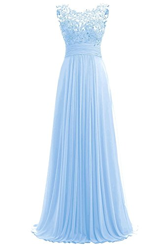azul claro mangas Vestido Carnivalprom para Sin trapecio mujer HYOqSRw