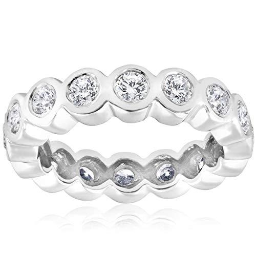 2ct Bezel Diamond Eternity Stackable Wedding Ring 14k White Gold - Size 7