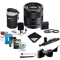 Sony Carl Zeiss 24mm F/1.8 E-mount NEX Camera Lens - Bundle with 49mm Filter Kit, Soft Lens Case, Lens Wrap, Cleaning Kit, LensPen Lens Cleaner, Capleash II, Flex Lens Shade, Pro Software Package