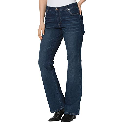 Woman Within Plus Size Tall Bootcut Stretch Jean - Midnight Sanded, 16 T