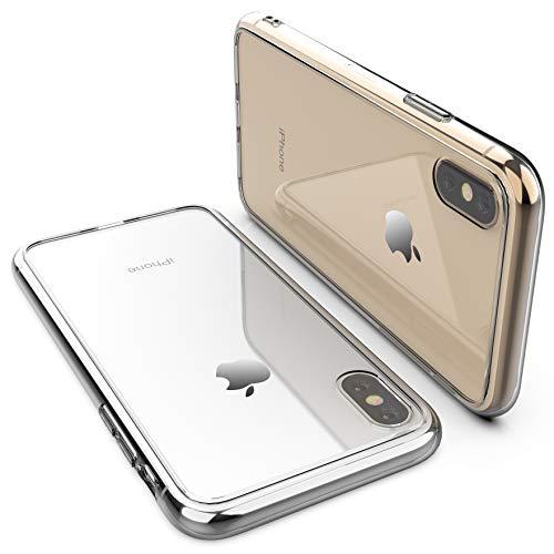 Clear Hard Glass - iPhone X Clear Case,iPhone Xs case,RORSOU Clear Hard 9H Tempered Glass Back Cover [Anti-Scratch] + Soft TPU Premium Hybrid Protective Clear Case for Apple iPhone X/iPhone Xs 5.8 Inch - Crystal Clear