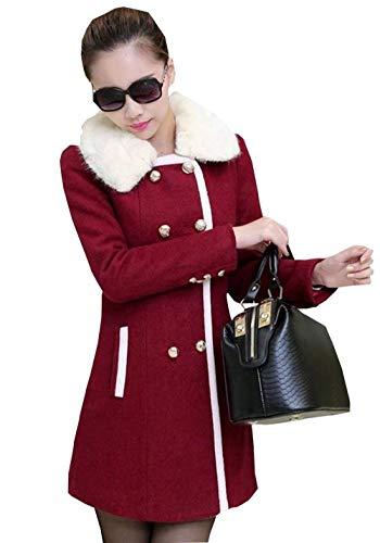 Loisir Fausse En Breal Chaud Woll Mince Manteau Long Laine Transition Elégante Fourrure Outerwear Femme Mode Rouge Manches De Automne Hiver Veste Col a80TZaU