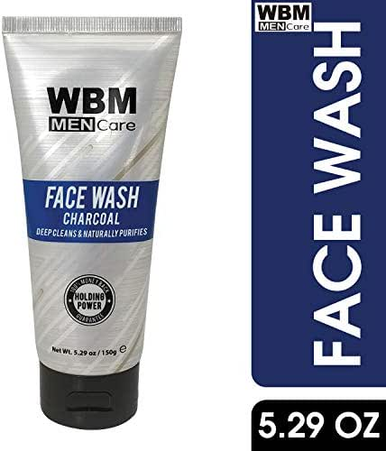 WBM Men Care Deep Cleanse Charcoal Face Wash | Daily Facial Cleanser For All Skin Types | 5.29 Oz