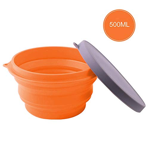 RSTime Collapsible Silicone Bowl with Lid,500ML Silicone Folding Travel Bowl for Camping,Travel,Hiking and Home Kitchen,Office,School,BPA Free Food-Grade Food Storage Containers(Orange) ()