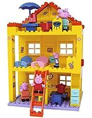 BIG-Bloxx Peppa gris hus – Peppa's House, Construction Set, Big -Bloxx set bestående av familj och byggnader, 107 delar, flerfärgat för barn från 18 månader