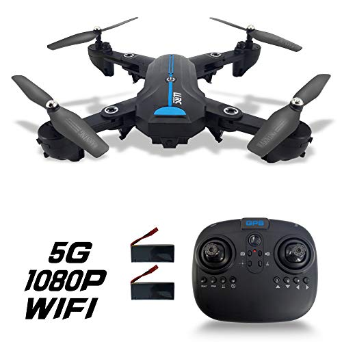 5G FPV GPS Drone Foldable Auto Return Home with 720P/1080P HD Wide Angle Camera Live Video Follow Me Altitude Hold Headless Mode RC Quadcopter for Kids and Adults