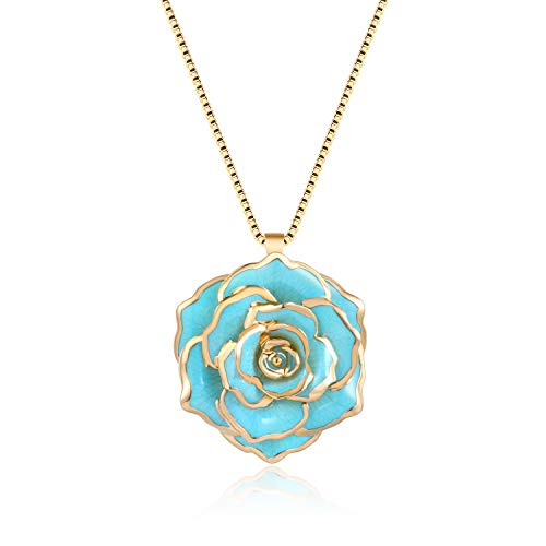 FM FM42 Turquoise Gold-Tone 30mm Made of Real Rose Flower Pendant Necklace FN4211