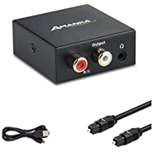 Audio Converter, AMANKA Digital to Analog Audio Decoder with Digital Optical Toslink and Coaxial Inputs to Analog RCA and AUX 3.5mm (Headphone) Outputs Fiber Cable Included