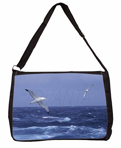 Sea Albatross Flying Free Large 16 Black School Laptop Shoulder Bag
