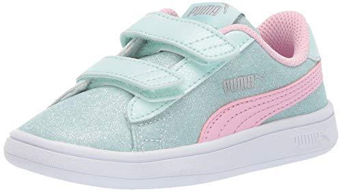 PUMA Girls' Smash V2 Velcro Sneaker fair aqua-pale pink- silver- white 11 M US Little Kid