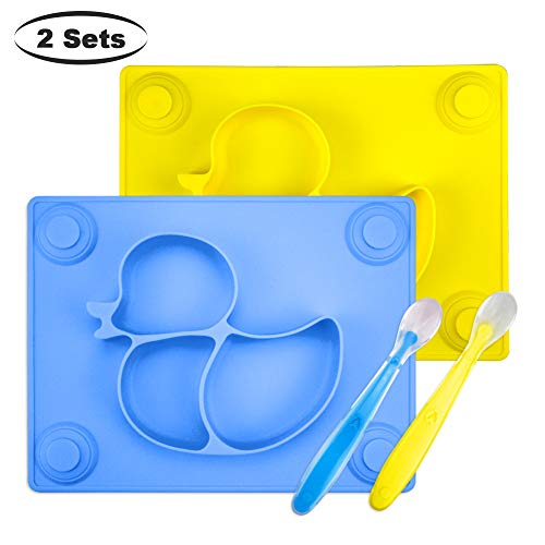 Baby Placemat with Baby Spoons(2 Sets) – 2X Silicone Baby Plates with Suction Cups Plus 2X Silicone Infant Feeding Spoons for Toddlers,Kids and Children (Blue&Yellow)