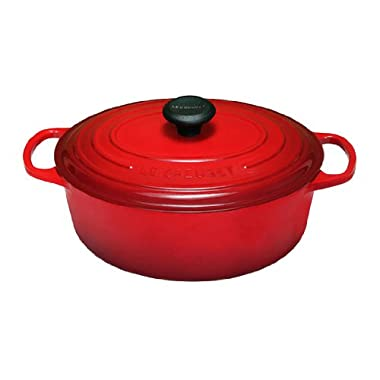 Le Creuset Signature Enameled Cast-Iron 6.75 Quart Oval French (Dutch) Oven, Cerise (Cherry Red)