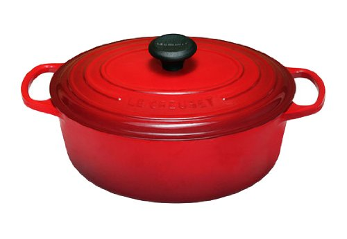 Le Creuset Signature Enameled Cast-Iron 5-Quart Oval French (Dutch) Oven, Cerise (Cherry Red)