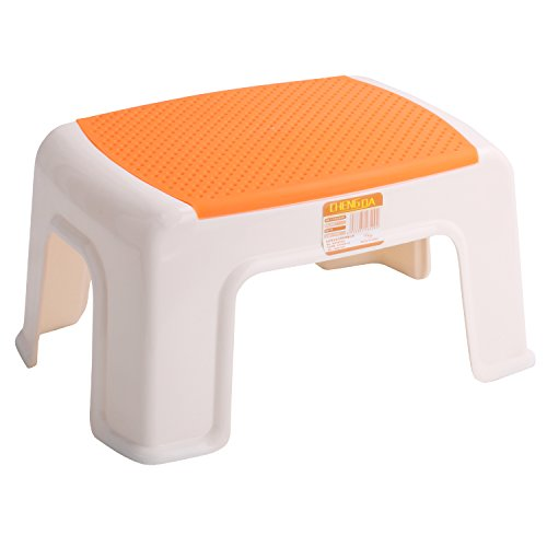 """Kleanner Plastic Small Step Stool Children's Stool, Anti-Slip Foot Perfect For Toddler Toilet Training Or Kids Bathroom For Brushing Teeth Or Washing Hands, 12"""" x 8.5"""" x 6.5"""" Orange"""