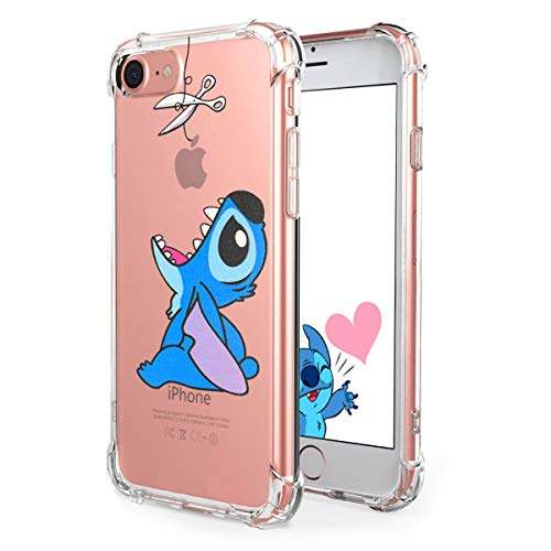 Logee TPU Stitch Cute Cartoon Clear Case for iPhone SE/ 5S / 5 / 5G,Fun Kawaii Animal Soft Protective Cover,Ultra-Thin Shockproof Funny Creative Character Cases for Kids Teens Girls Boys (iPhoneSE) (Iphone 5s Cases Disney)
