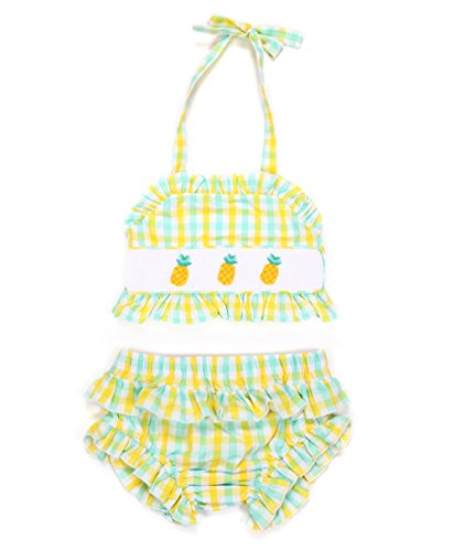 Babeeni Baby Girl Bikini With Pineapples Net-Embroidery Patterns For Beach Season, Yellow & Mint Plaid Fabric (4Y)