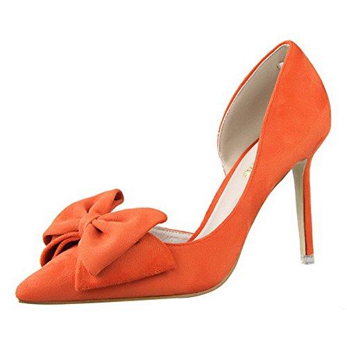Aalardom Kvinners Spisse Tå-pull-on-pigger Stil Faste Pumper-sko Med Bowknot Orange-bowknot