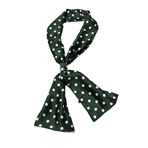 Women Silk Scarf Neckerchief Vintage Neck Scarf Satin Shawl Wrap for Dress ZWJ02 (Dark Green Polka dot) ()